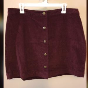 High waisted maroon corduroy button up skirt